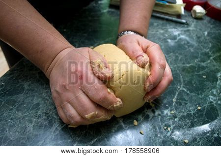 Creating and kneading the dough for gingerbread