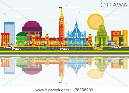 Ottawa Skyline with Color Buildings, Blue Sky and Reflections. Business Travel and Tourism Concept with Modern Architecture. Image for Presentation Banner Placard and Web Site.