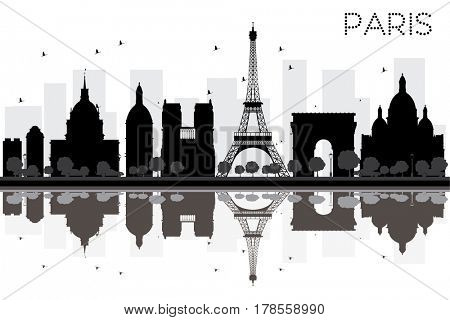 Paris City skyline black and white silhouette with reflections. Simple flat concept for tourism presentation, banner, placard or web site. Cityscape with famous landmarks