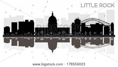 Little Rock City skyline black and white silhouette with Reflections. Simple flat concept for tourism presentation, banner, placard or web site. Cityscape with landmarks