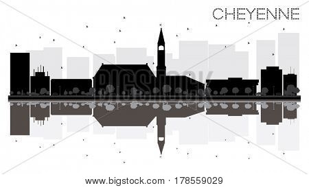 Cheyenne City skyline black and white silhouette with reflections. Simple flat concept for tourism presentation, banner, placard or web site. Cityscape with landmarks