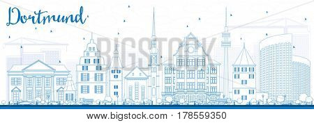 Outline Dortmund Skyline with Blue Buildings. Business Travel and Tourism Concept with Historic Architecture. Image for Presentation Banner Placard and Web Site.