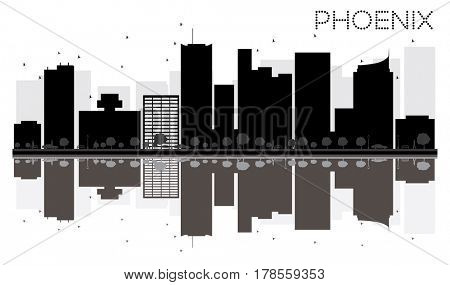 Phoenix City skyline black and white silhouette with reflections. Simple flat concept for tourism presentation, banner, placard or web site. Cityscape with landmarks.