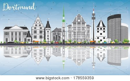 Dortmund Skyline with Gray Buildings, Blue Sky and Reflections. Business Travel and Tourism Concept with Historic Architecture. Image for Presentation Banner Placard and Web Site.
