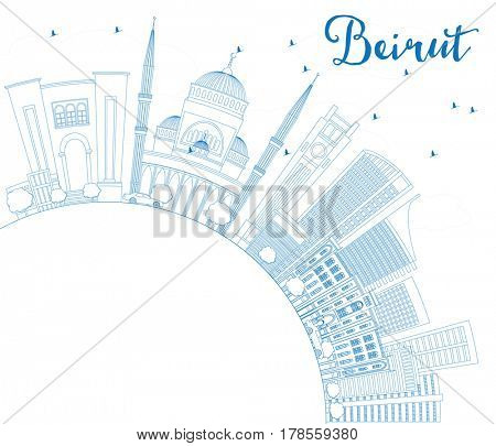 Outline Beirut Skyline with Blue Buildings and Copy Space. Business Travel and Tourism Concept with Modern Architecture. Image for Presentation Banner Placard and Web Site