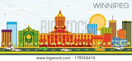 Winnipeg Skyline with Color Buildings and Blue Sky. Business Travel and Tourism Concept with Modern Architecture. Image for Presentation Banner Placard and Web Site.