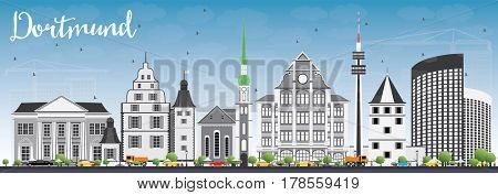 Dortmund Skyline with Gray Buildings and Blue Sky. Business Travel and Tourism Concept with Historic Architecture. Image for Presentation Banner Placard and Web Site.