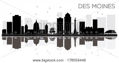 Des Moines City skyline black and white silhouette with reflections. Simple flat concept for tourism presentation, banner, placard or web site. Cityscape with landmarks