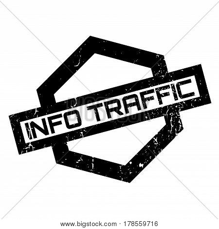 Info Traffic rubber stamp. Grunge design with dust scratches. Effects can be easily removed for a clean, crisp look. Color is easily changed.
