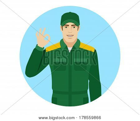Worker showing a okay hand sign. Portrait of Delivery man or Worker in a flat style. Vector illustration.