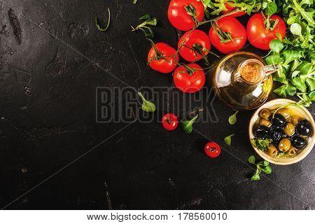 Olive Oil, Lettuce Leaves, Tomatoes.