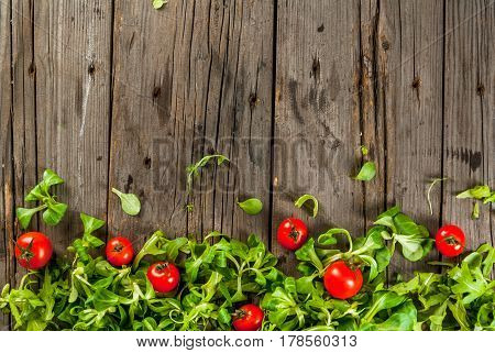 Salad Leaves And Tomatoes