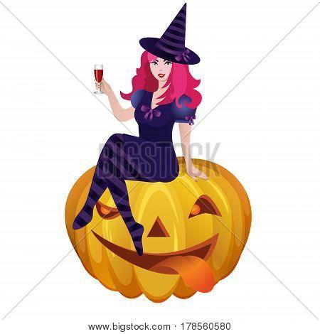 Halloween witch. Illustration of Halloween sitting on pumpkin