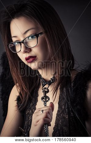 portrait beautiful slave girl with leash closeup