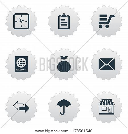 Vector Illustration Set Of Simple Handing Icons. Elements Holdall, Gingham, Passport And Other Synonyms Holdall, Envelope And List.