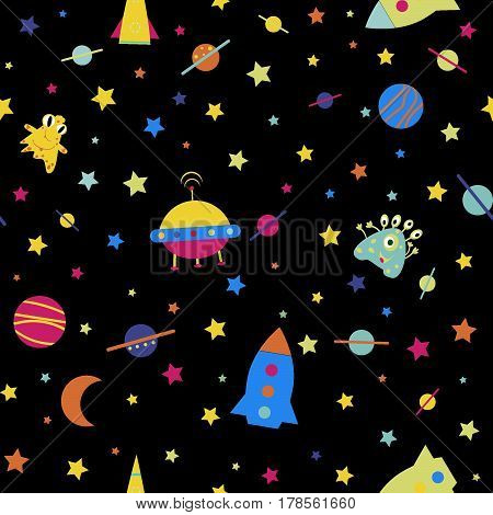 Children's seamless rocket pattern, monster raster version