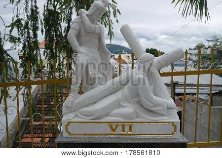 Sculpture from life and Jesus Christ's death in the Cathedral in Nha Trang, Vietnam