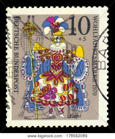 GERMANY - CIRCA 1970: A stamp printed in the Germany shows angel, Christmas doll, circa 1970