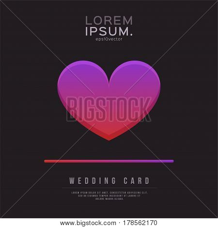 Wedding Card Text and Heart Design Template