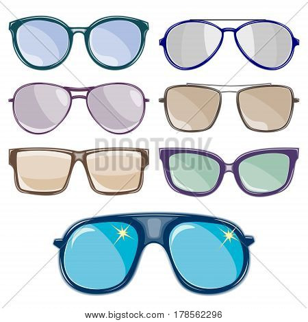 The set of sunglasses is depicted on a white background.Vector illustration.