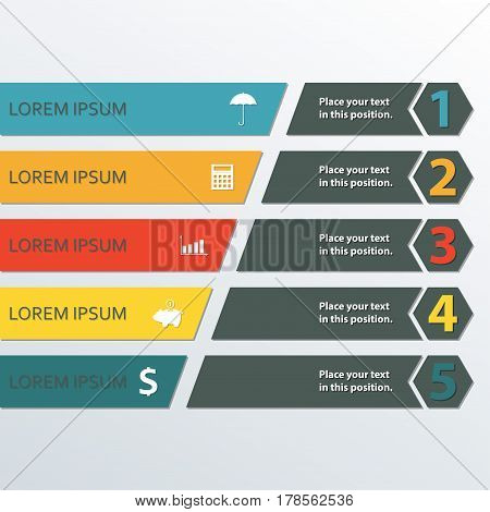 Infographic design template with business icons and 5 options for workflow layout diagram web design marketing and sales concept. Colorful vector illustration.