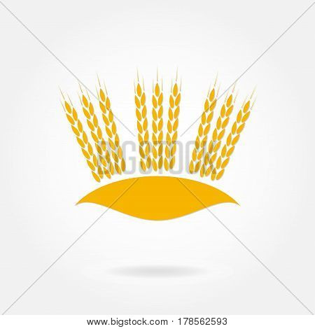 Wheat ears or rice icon. Crop barley or rye symbol. Agriculture design element. Vector illustration.