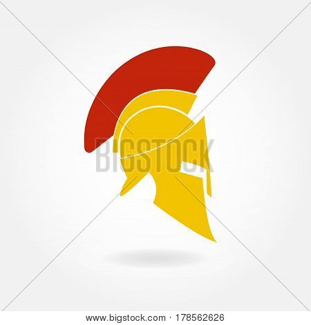 Spartan helmet icon. Ancient Roman or Greek helmet with feathered crest. Metal helmet for head protection soldiers of the legions. Vector illustration.