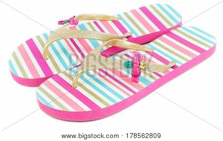 Summer fashion striped slippers isolated on white background.