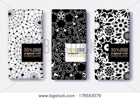 Vector Set Of Chocolate Bar Package Designs With Modern Black and White Geometric Patterns. Editable Packaging Template Collection. Surface pattern and package design.