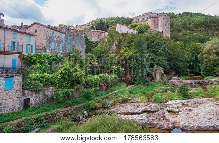 River along the old town Largentiere in the Ardeche region of France