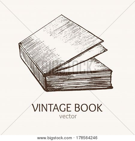 Vintage Book Hand Draw Sketch Card Retro Style Culture Leisure. Vector illustration