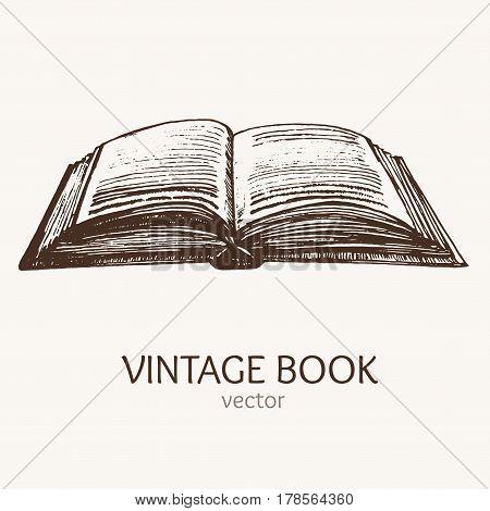 Open Vintage Book Hand Draw Sketch Card Retro Style Art. Vector illustration