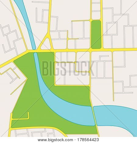 Cartoon Road City Map of District for Phone, Web, App Mobile Flat Design Style. Vector illustration