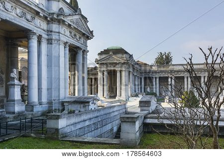 BOLOGNA,ITALY-DECEMBER 7,2016:Inside monumental cemetery of the Certosa in Bologna during a sunny day.
