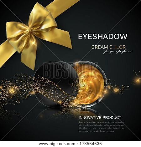 Eye shadows or blusher ads. Cosmetics package design. 3d vector beauty illustration. Glamorous golden eyeshadows or cheek blush jar with golden particles wave and bow. Product package mock-up