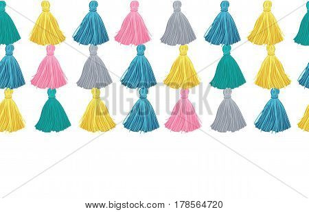Vector Colorful Decorative Tassels Rows Horizontal Seamless Repeat Border Pattern. Great for handmade cards, invitations, wallpaper, packaging, nursery designs. Surface pattern design.