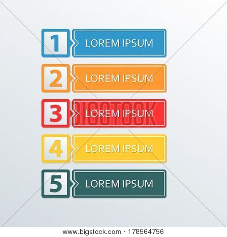 Infographic design template. 5 options or levels for business concept workflow layout diagram web design marketing and sales. Colorful vector illustration.
