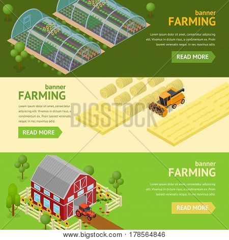 Farming Banner Card Horizontal Set Concept Can Be Used for Agriculture Business. Vector illustration