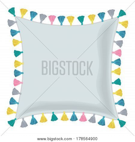 Vector Grey Pillow Decorated With Colorful Decorative Tassels. Editable Template Design. Great for trendy mockups, bedroom, and modern nursery designs. Surface pattern design.