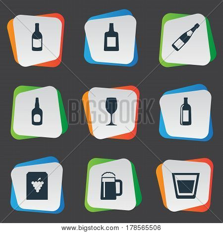 Vector Illustration Set Of Simple Water Icons. Elements Vine, Beverage, Whiskey And Other Synonyms Liquor, Bottle And Water.