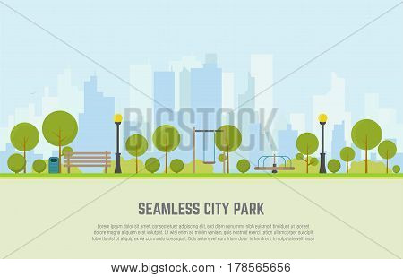 Seamless city park bench lawn and trees trash can swings and carousels. Flat style vector. On background business city center with skyscrapers. Green park vegetation in center of big town.