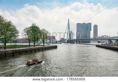 Rotterdam Netherlands - May 26 2016: The bridge Erasmusbrug spans the river Nieuwe Maas and is 284 meters long and is also known as swan bridge