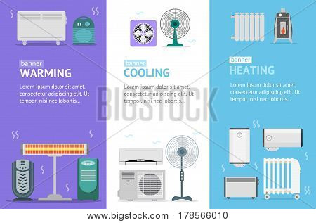 Heating, Cooling and Warming Devices Banner Card Vecrtical Set for House And Office Climate Control Service. Vector illustration