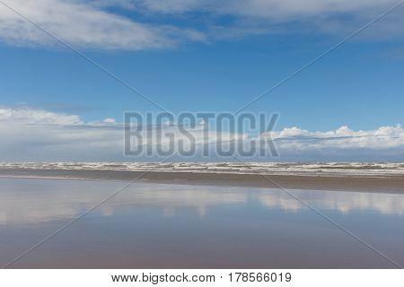 Beach and rio real river in Mangue Seco Jandaira Bahia Brazil