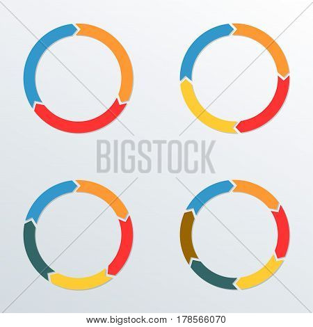 Circle arrows set. Circle Infographic template for process diagrams chart graph web design and presentation with 3 4 5 6 options or levels. Vector illustration.