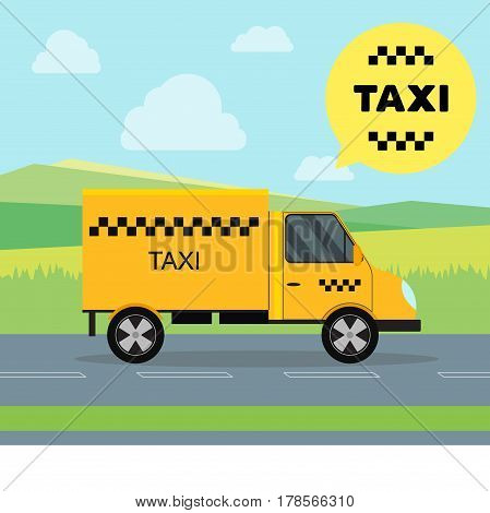 Taxi Service Moving Car on a Landscape Background Side View Shipping Cargo. Vector illustration