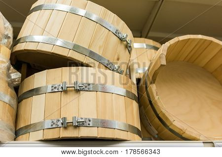 Closeup of small empty wooden tubs for sauna