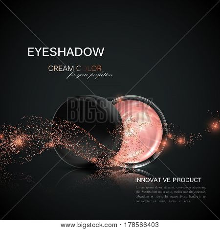 Beauty eye shadows or cheek blush ad. Cosmetics package design. 3d vector beauty illustration. Glamorous rose gold cream eyeshadows. Product package mock-up for fashion magazine or promotional poster