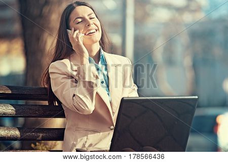 Young Businesswoman Outside