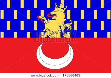 Flag of Vesoul is a commune in the Haute-Saone department in the region of Franche-Comte located in eastern France. Vector illustration